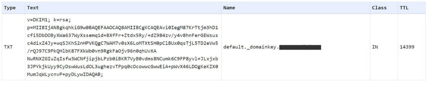 Sceenshot of a DKIM record