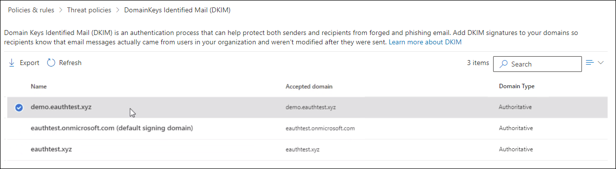 DKIM page in the Microsoft 365 Defender portal with a domain selected