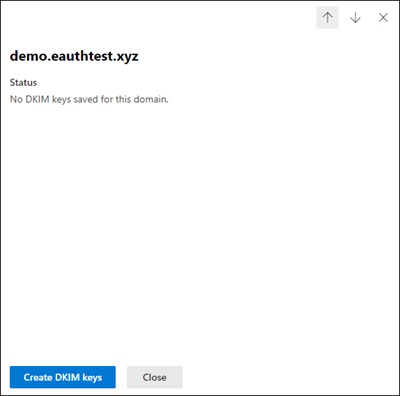 Domain details flyout with the Create DKIM keys button